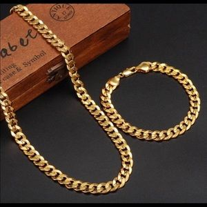 Other - New 18 k yellow gold Cuban necklace and bracelet
